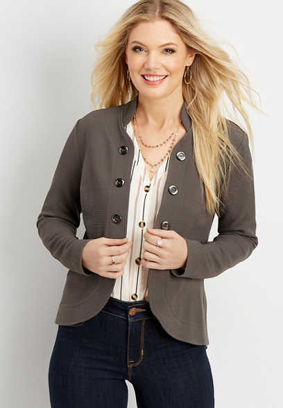 high low open front military blazer