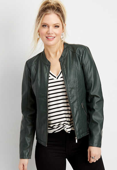 faux leather princess seam jacket