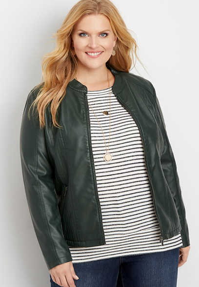 plus size faux leather princess seam jacket
