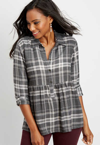 flannel plaid baby doll button down shirt