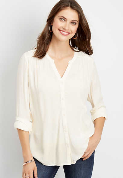 solid button down peasant blouse