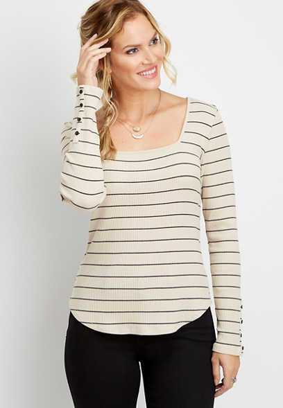 24/7 stripe ribbed square neck long sleeve tee