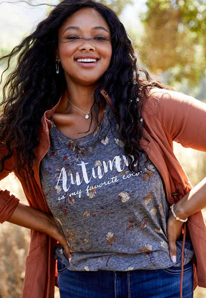 plus size autumn is my favorite color graphic tee