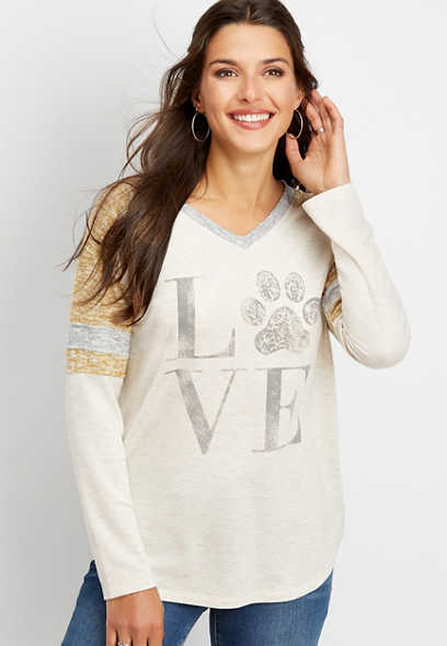 love paw print graphic tee