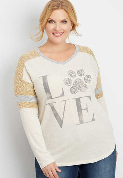 plus size love paw print graphic tee