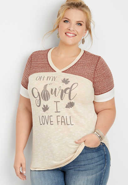 plus size oh my gourd I love fall graphic tee