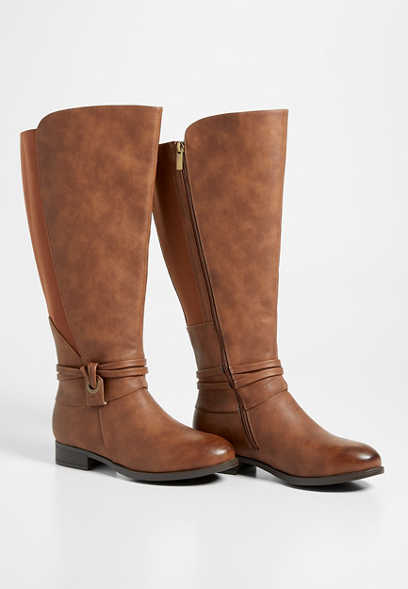 Darby wide calf ankle wrap tall boot