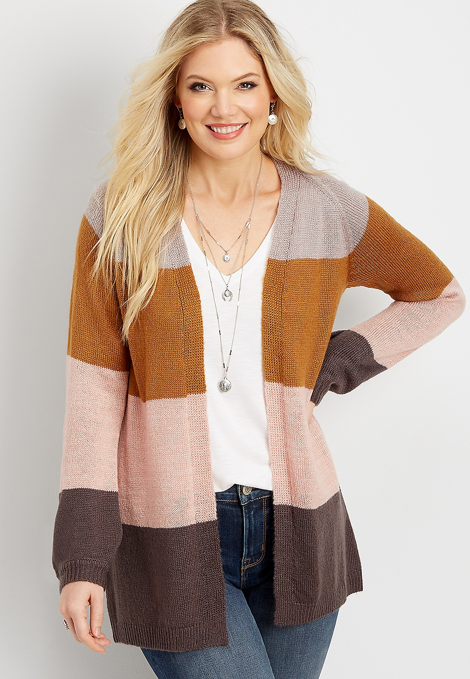 on sale 2c5a2 0b5b6 colorblock open front cardigan