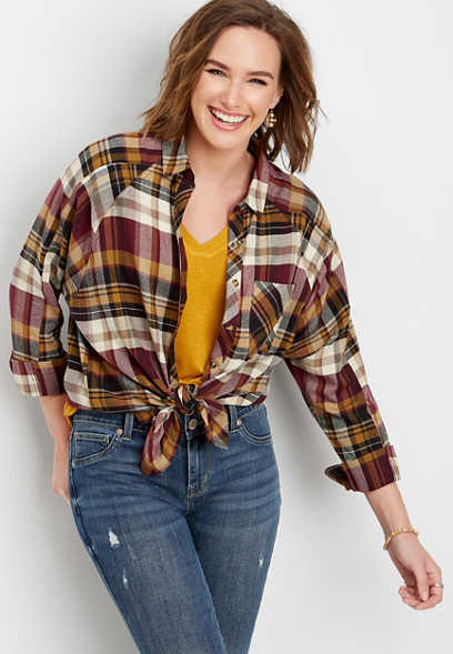 flannel plaid tunic button down shirt