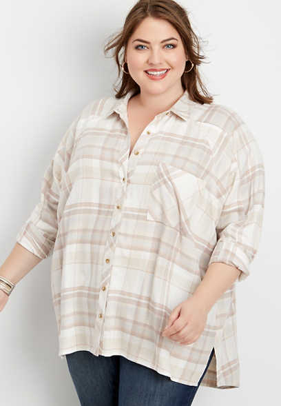 plus size plaid oversized tunic button down shirt