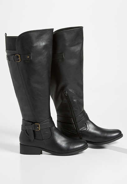 Daphne wide calf side buckle tall boot
