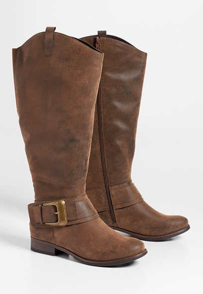 Delilah wide calf western buckle tall boot