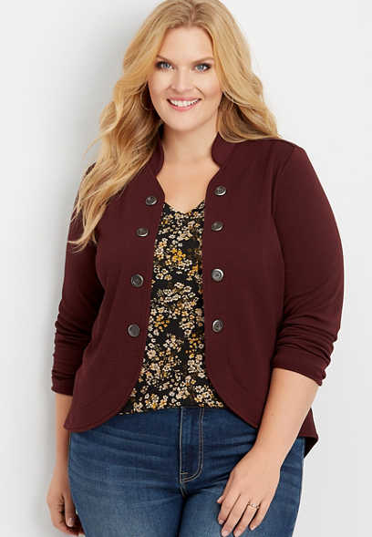 plus size high low open front military blazer