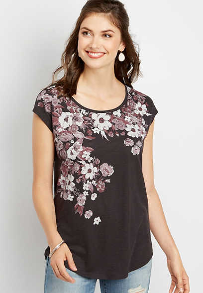 floral graphic dolman tee