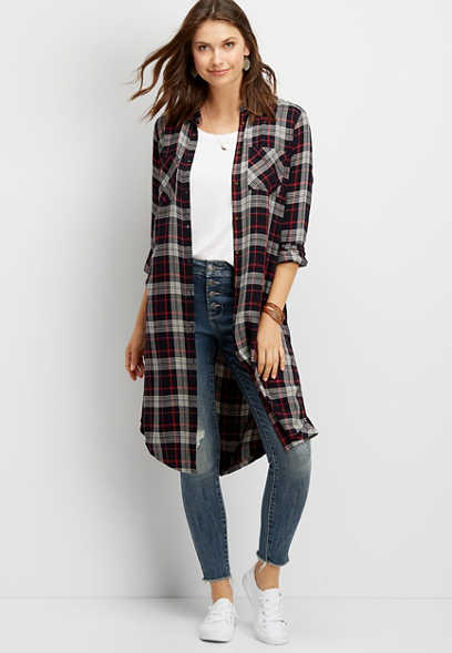 plaid button down duster shirt