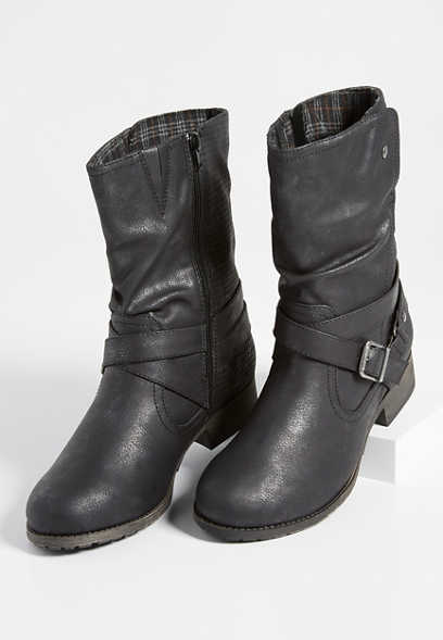Rhoda buckle wrap moto boot