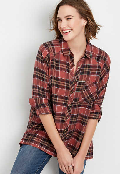 plaid oversized tunic button down shirt