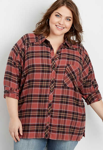 plus size flannel plaid tunic button down shirt