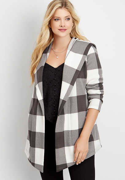 buffalo plaid fleece hooded coatigan