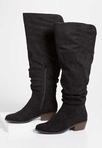 Debbie wide calf tall scrunch boot