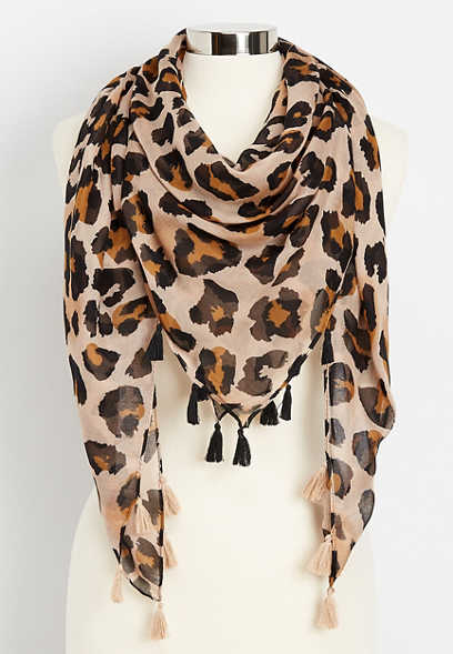 leopard square scarf with tassels