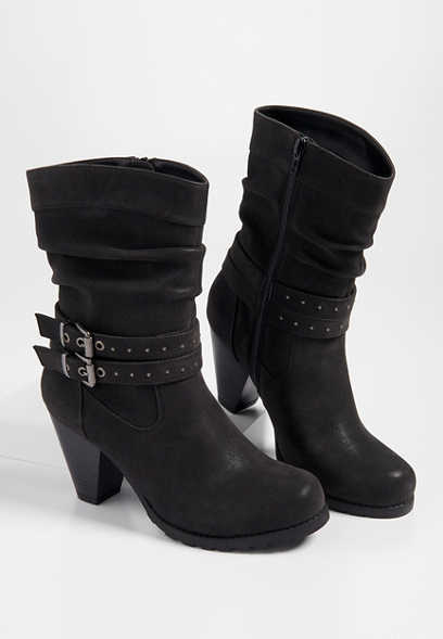 Rikki studded buckle mid-calf boot
