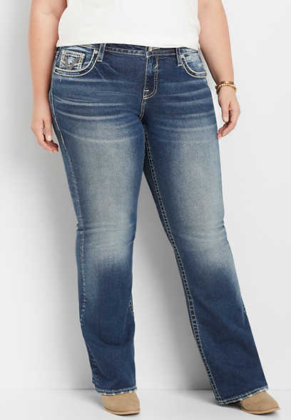 plus size Vigoss® destructed pocket bootcut jean