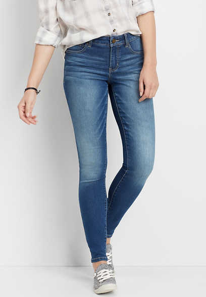 Everflex™ mid rise medium wash stretch skinny jeans