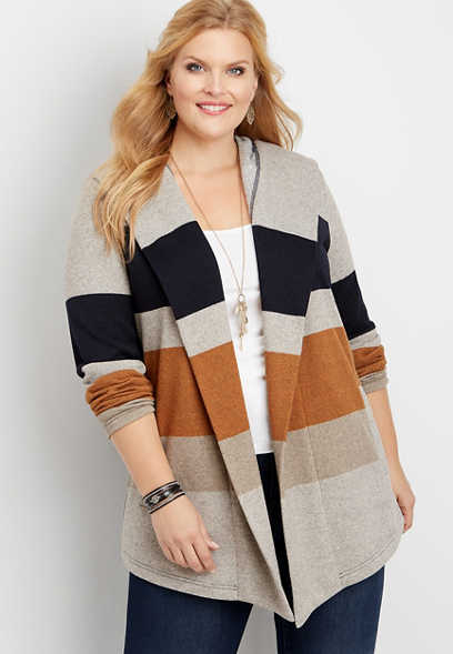 plus size colorblock fleece hooded coatigan