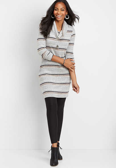 stripe cowl neck pocket dress