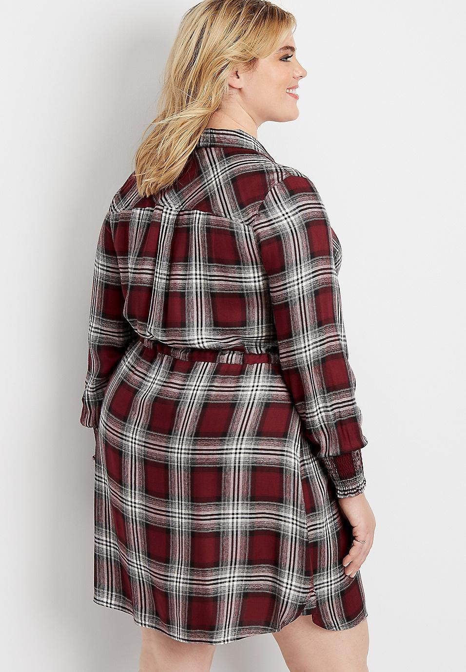plus size plaid button down shirt dress