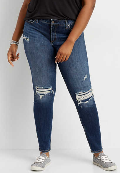plus size Silver Jeans Co.® Elyse backed destructed skinny jean