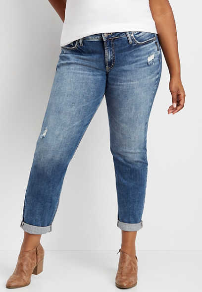 plus size Silver Jeans Co.® marble wash rolled boyfriend jean