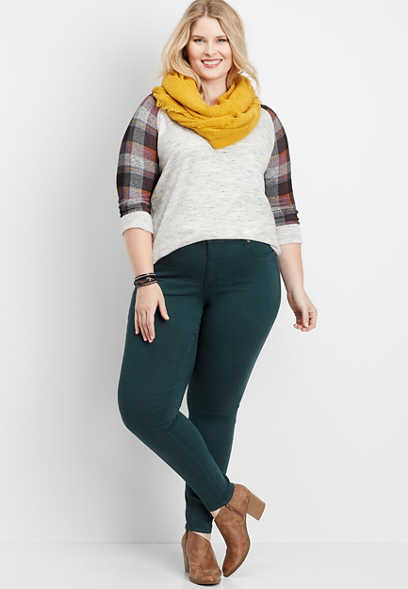 plus size DenimFlex™ deep blue green color jegging