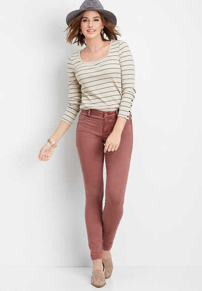 DenimFlex™ dusty cedar color jegging