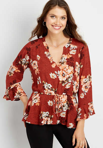 floral crocheted trim peasant top