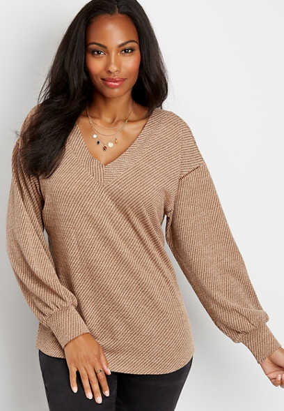 slouchy crochet trim pullover