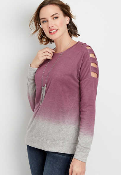 ombre cutout long sleeve pullover