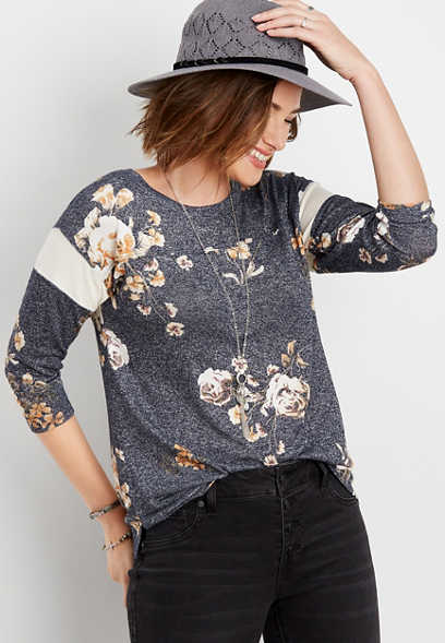 24/7 floral blocked sleeve tee
