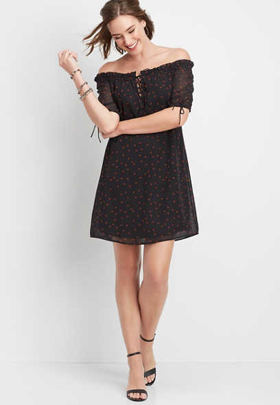 polka dot lace up off the shoulder dress