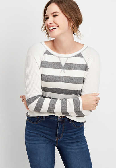 24/7 stripe blocked sleeve baseball tee