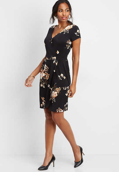 floral wrap sheath dress