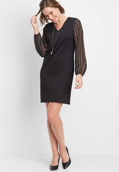 paisley sleeves ponte knit shift dress