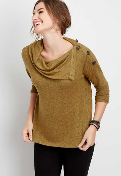 24/7 solid button cowl neck pullover