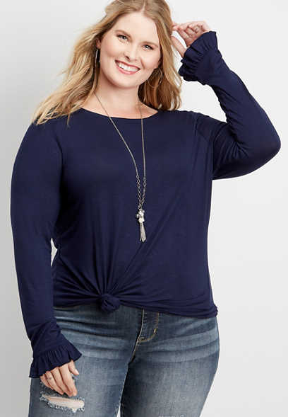 plus size 24/7 solid long flutter sleeve tee