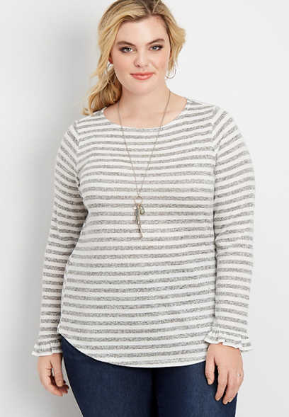 plus size 24/7 stripe long flutter sleeve tee