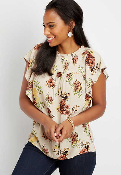 metallic floral smocked top