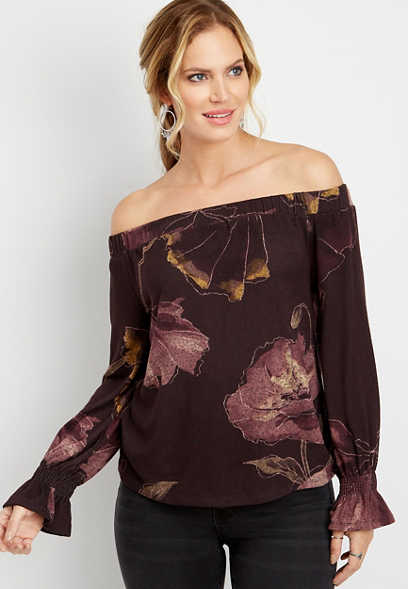 floral off the shoulder peasant top