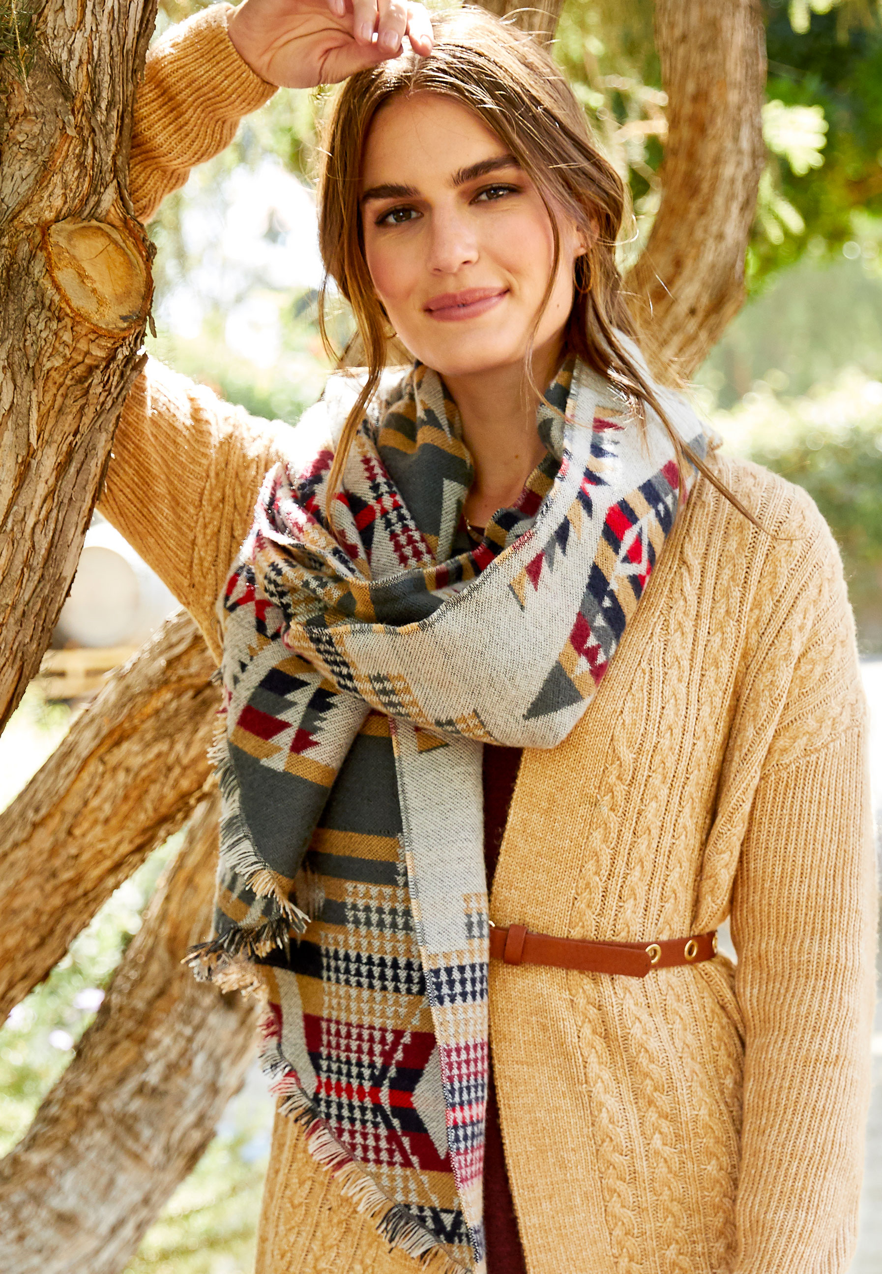 Geo Navajo Trapezoid Blanket Scarf by Maurices