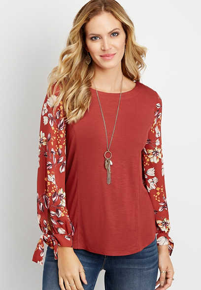 chiffon floral printed sleeve blouse